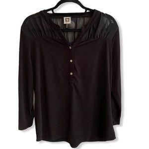 ANNE KLEIN partial mesh peekthrough blouse